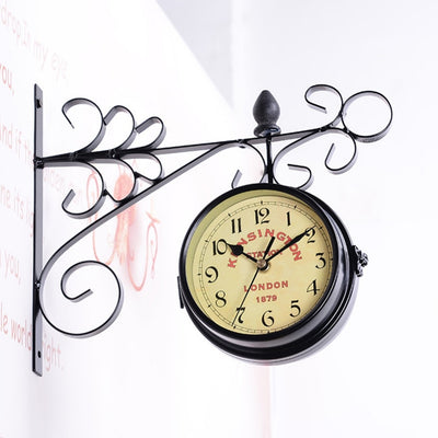 Wall Clock with Double-Side Vintage Style for Home Decor