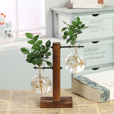 Hydroponic Plant Tabletop Vases with  Wooden Frame Glass for Home Decor