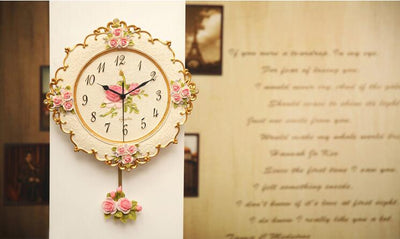 Rose Wall Clocks with European Vintage Style