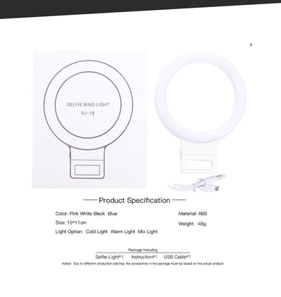 New LED Selfie Ring Light for iPhone Samsung