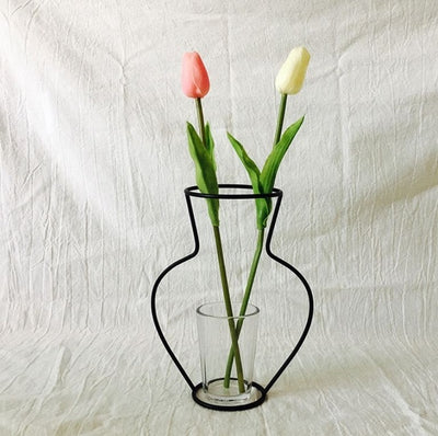 Minimalist Vase with Iron Craft Pot Stand for Home Decor