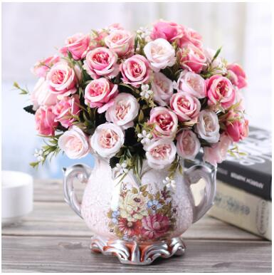 European Resin Vase Craft with Artificial Flower Set for Home Decor