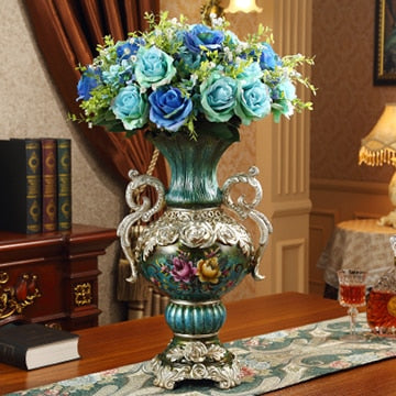 European Luxury Resin Vase Crafts with Retro Creative Design for Home Decor