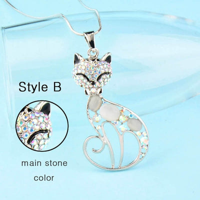 Cute Opal Rhinestone Cat Necklaces for Women Jewelry