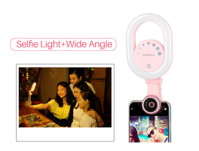 3 in 1 Selfie Light with Wide Angle Len for iPhone Samsung Huawei