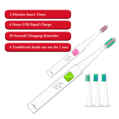 Sonic Best Electric Toothbrush With 4 Heads USB Rechargeable