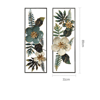 3D Wrought Iron Artificial Flower Wall Hanging Craft for Home Decor Mural Art