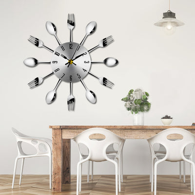 Cutlery Stainless Steel Kitchen Wall Clocks with Spoon Fork Design