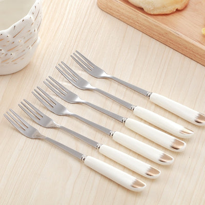 Fruits Forks Spoons and Swan Spoon Holder for Dinnerware Set