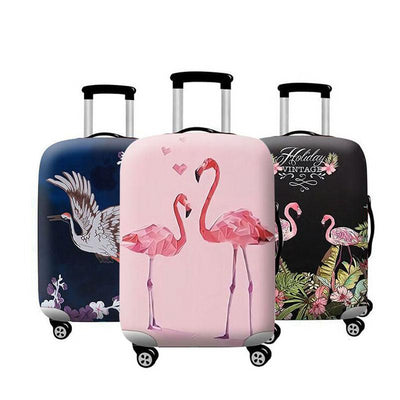 Flamingo 3D Travel Luggage Cover Protector with 18-32 Inch Elastic Suitcase Cover