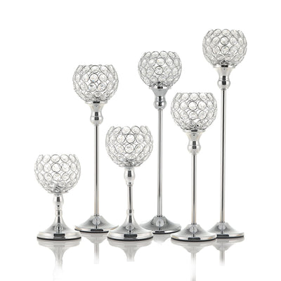 Crystal Tealight Candelabra for Home Decor with Silver Color