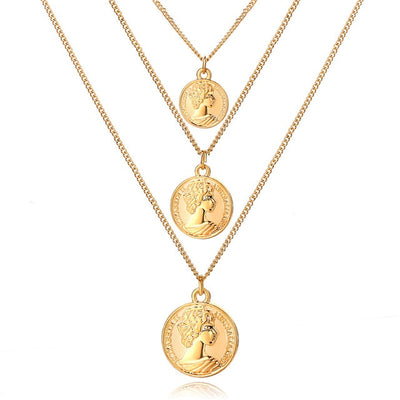 Bohemian Necklace with Gold and Sliver Fashion Pendants Jewelry