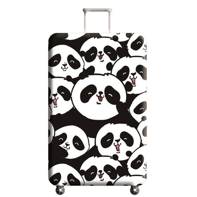Cute Panda Travel Luggage Cover Protector with 18-32 Inch Elastic Suitcase Cover