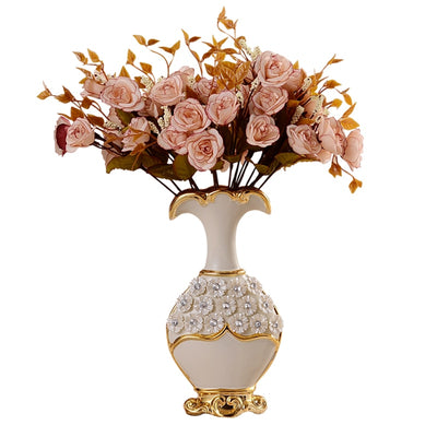 European Ceramic Vase with Handpainted Design for Home Decor