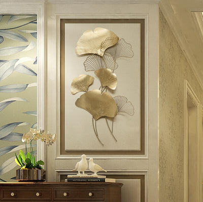 Luxury Wrought Iron Wall Hanging Ginkgo Leaf Crafts for Home Decor Metal Mural