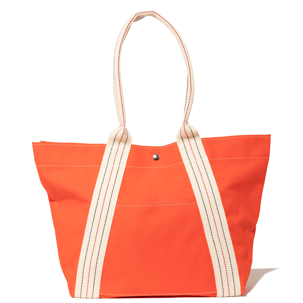 a-frame tote - solid orange/stripe