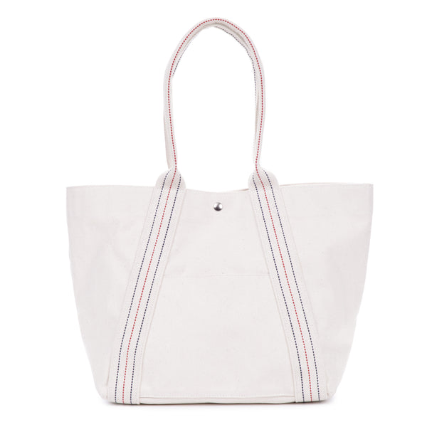 a-frame tote - solid natural/stripe