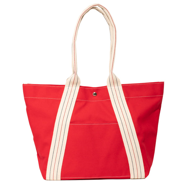 a-frame tote - solid red/stripe