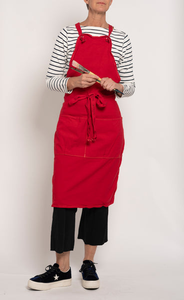 Full Apron - china red