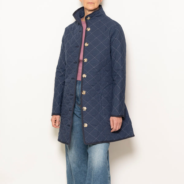 quilted car coat - navy
