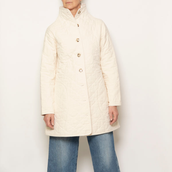 quilted car coat - natural