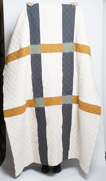 PATCHWORK THROW natural charcoal honey slate