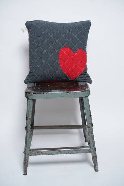 patchwork heart toss pillow- charcoal+red
