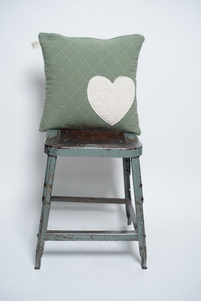 patchwork heart toss pillow- slate+natural