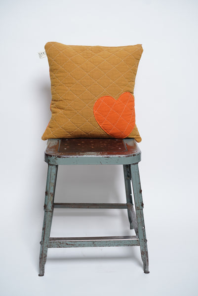 patchwork heart toss pillow- honey+orange