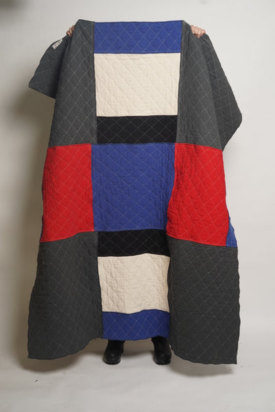 PATCHWORK THROW charcoal indigo red black
