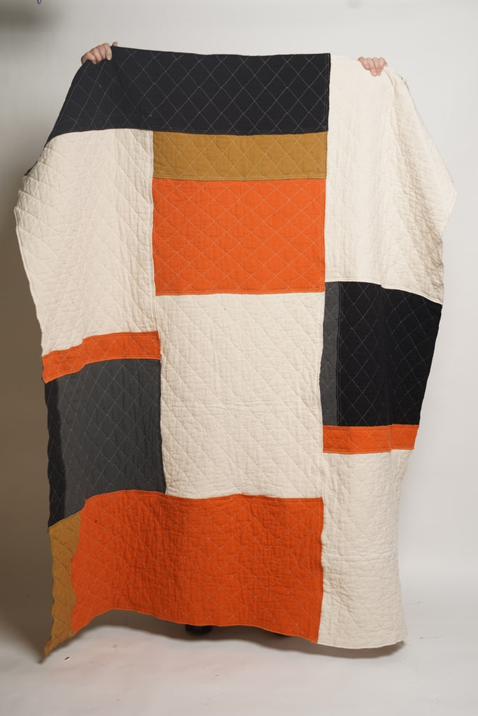 PATCHWORK THROW natural orange honey charcoal
