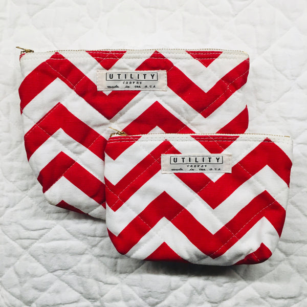 quilted zip pouch - red zig zag