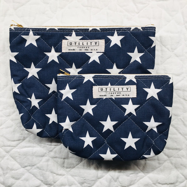 quilted zip pouch - navy stars