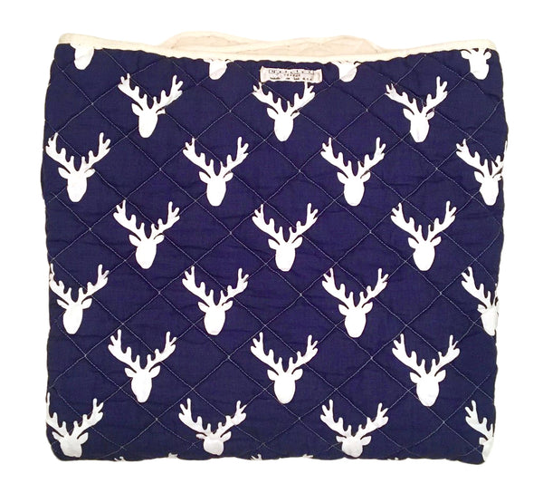 Quilted Throw - navy stags