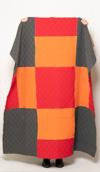 PATCHWORK THROW charcoal orange red