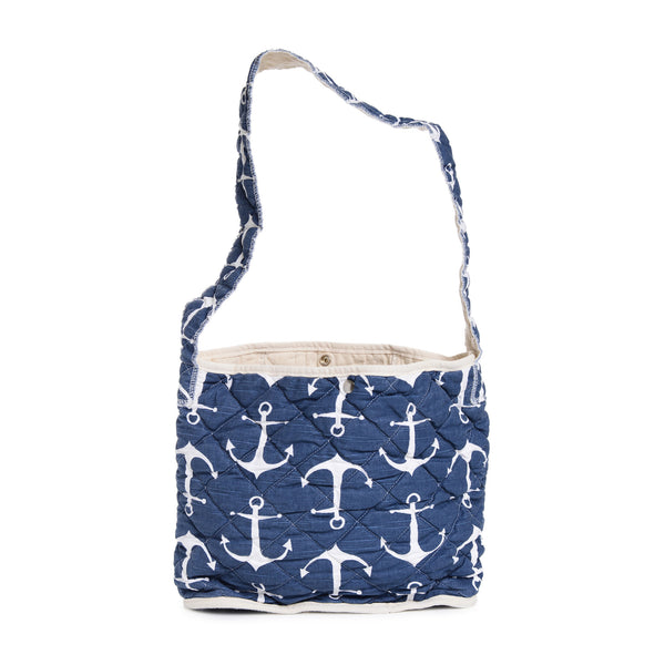 quilted feed bag - navy anchors