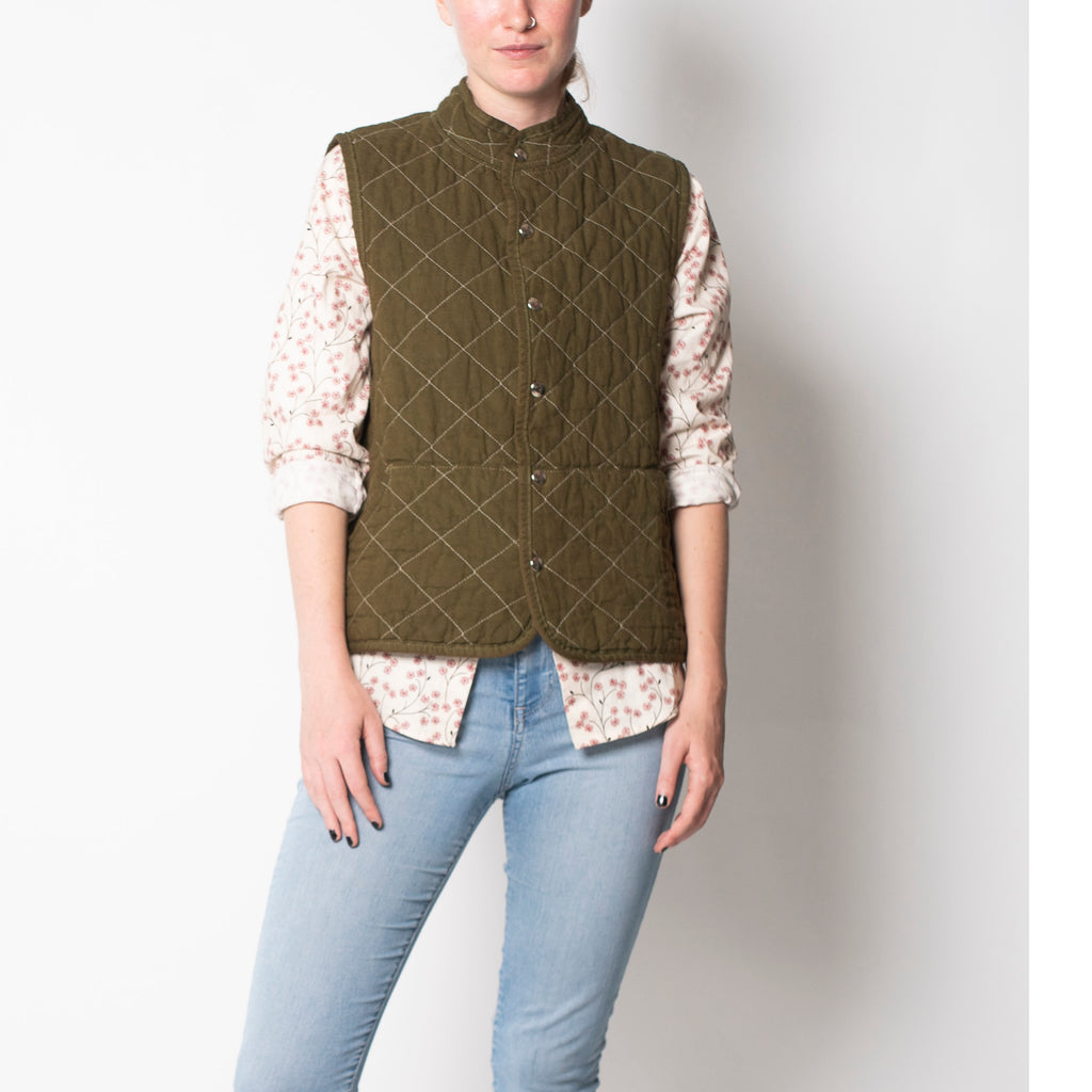 quilted snap vest- olive