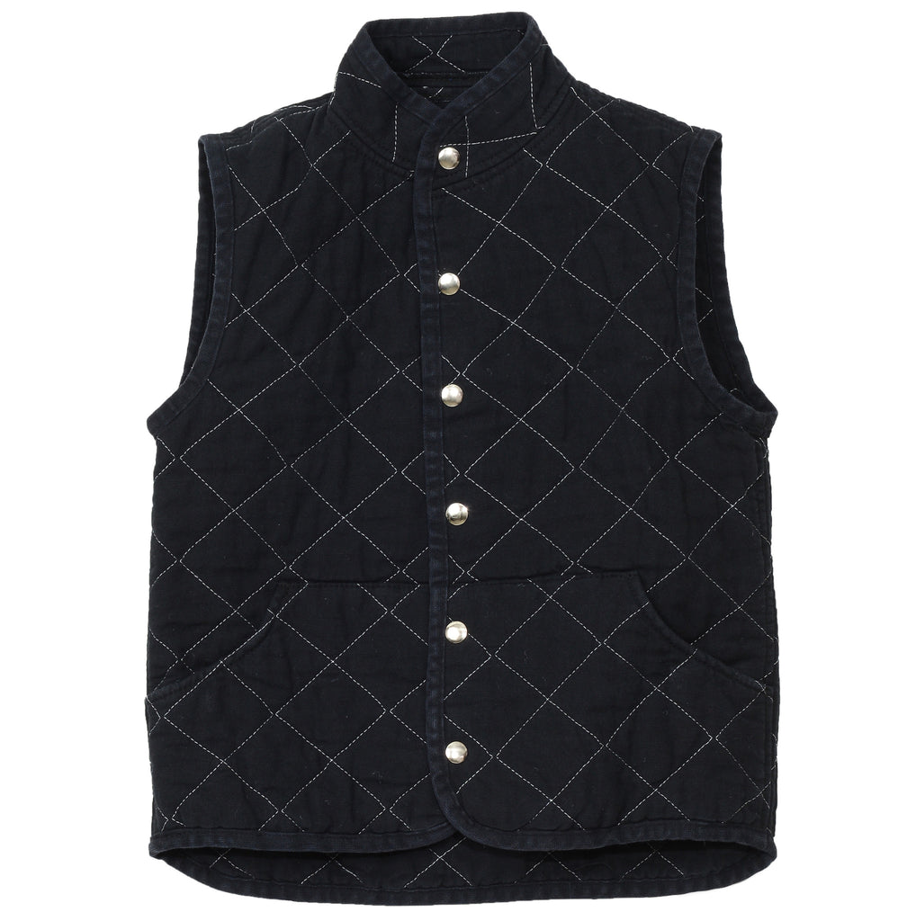 quilted snap vest- black