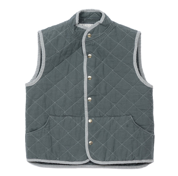 quilted snap vest- steele