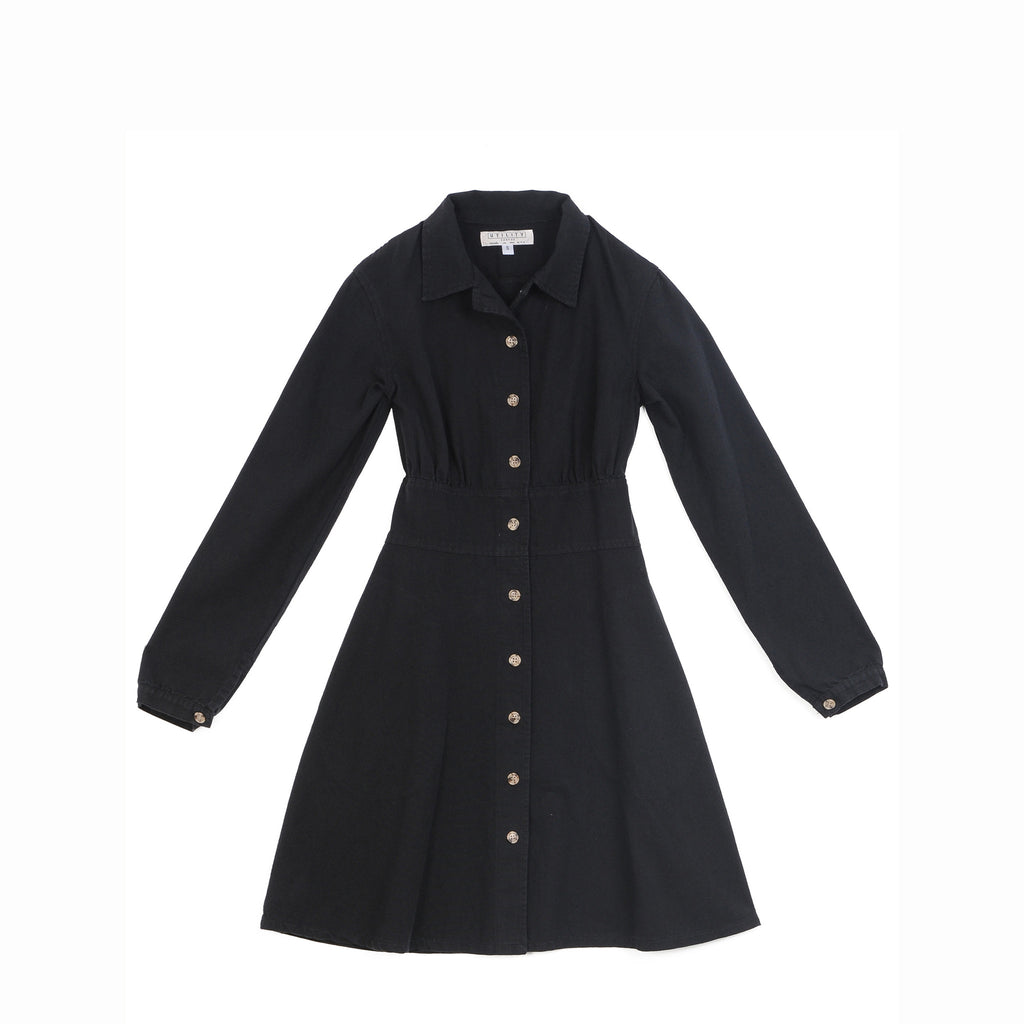 Shirred Coat Dress - Black