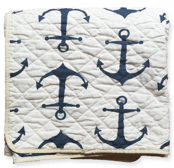 quilted throw - white anchors
