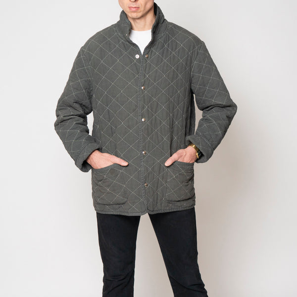 quilted snap jacket - charcoal