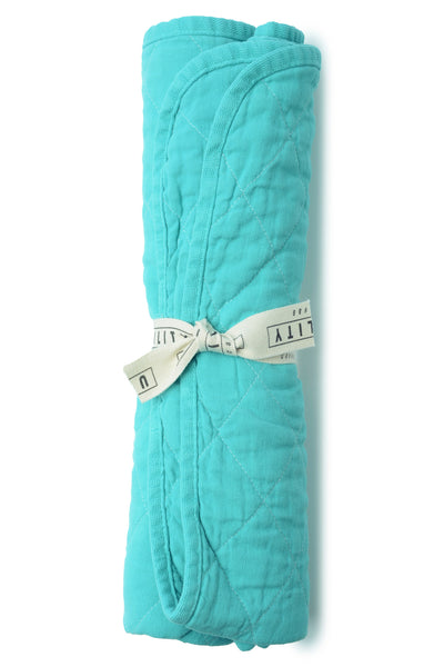 quilted floor mat - aqua