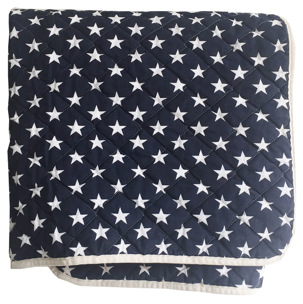 Quilted Throw - navy stars