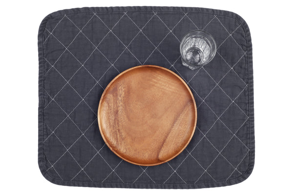 Quilted Placemat - charcoal