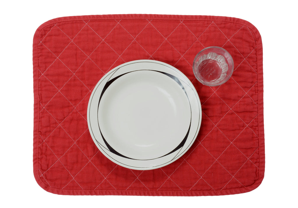 Quilted Placemat - china red