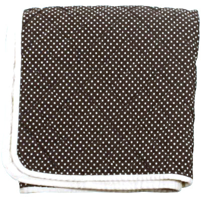 Quilted Throw - chocolate swiss dot
