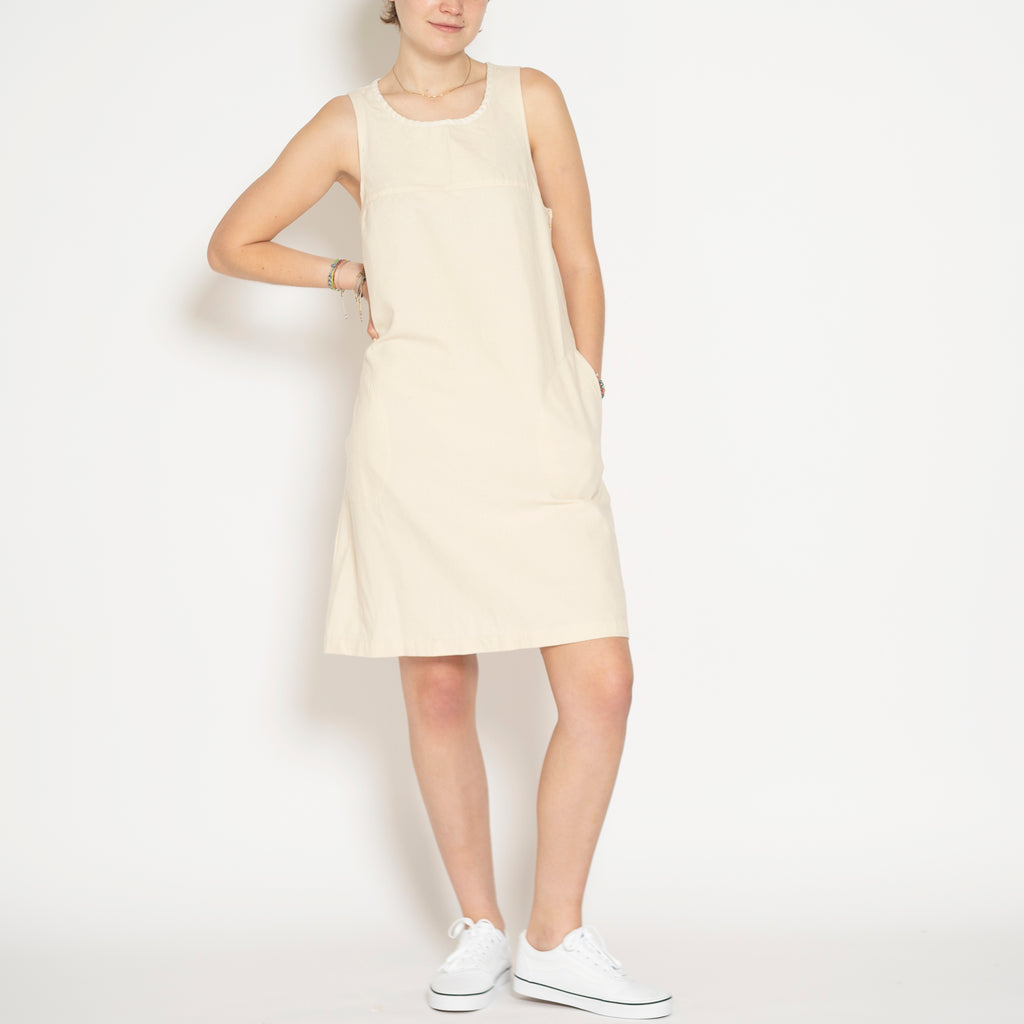 sleeveless shift dress - natural
