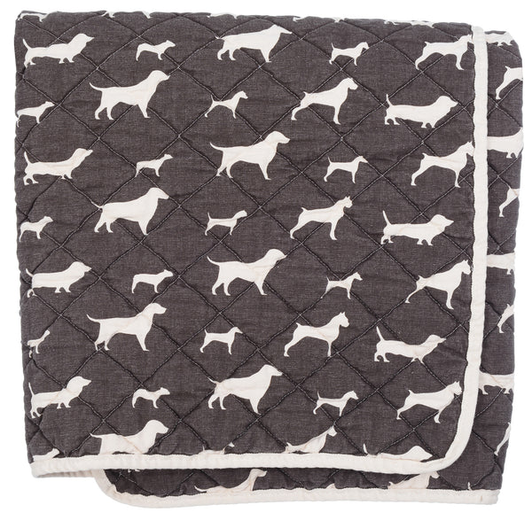 Quilted Throw - chocolate dogs