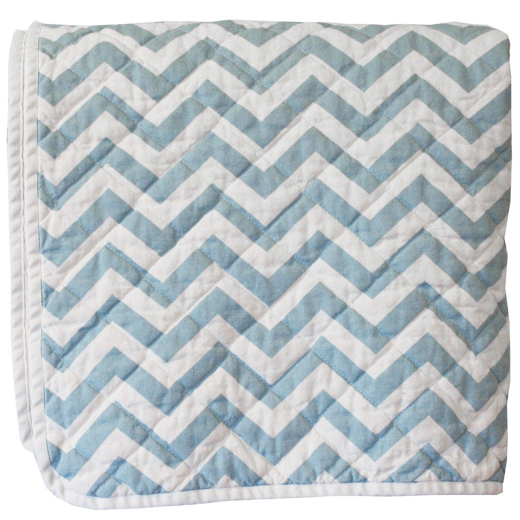 Quilted Throw - blue zig zag